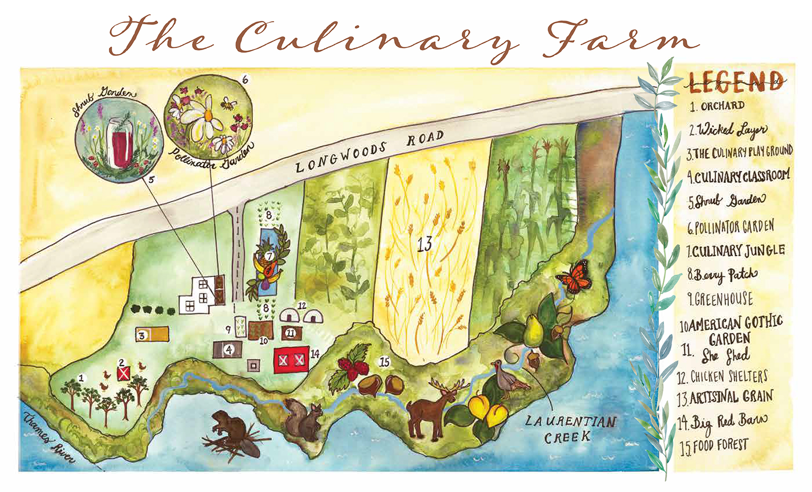 The Culinary Farm illustrated map of the property